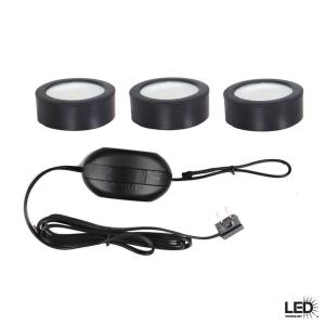 Charmant Hampton Bay LED Black Puck Light Kit