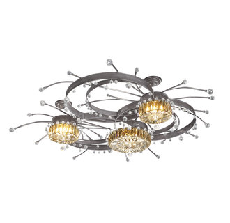 Kalco 6143 / DRUM Crystal 3 Light Chandelier With Drum Crystal Bowls And Drop Crystals Included From the Galaxy Collection