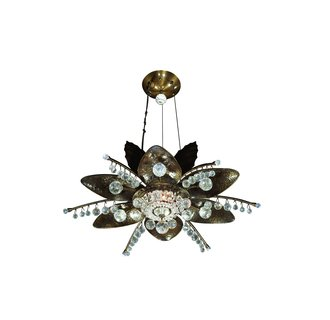 Kalco 6205CB Crystal 1 Light Halogen Semi-Flush Ceiling Fixture With Basket Crystal Bowl And Drop Crystals Included From the Stargazer Collection