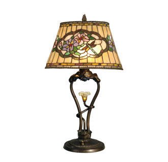 Dale Tiffany TT90312 Traditional / Classic 3 Light Tiffany Table Lamp with LED Light and Art Glass Shade