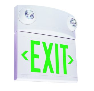 Dual-Lite LTUGW 2 Light Green LED / Halogen Tandem Exit Sign / Emergency Light - Battery Included