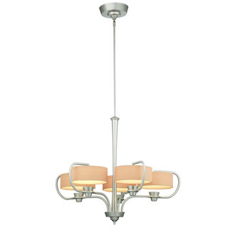Thomas Lighting M2018 Contemporary / Modern 5 Light Single Tier LED Chandelier with Silk Drum Shades from the Tarragon Collection