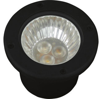 Progress Lighting P5295 Well Lights Series 12V Low-Voltage Aluminum LED Well Light with Black Epoxy Powder Paint Finish and Tempered Clear Glass Lens