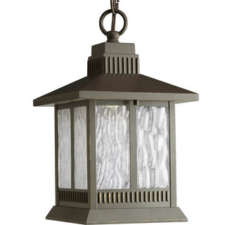 Progress Lighting P5509 Greenridge Single-Light Cast Aluminum LED Outdoor Hanging Lantern with Seeded Water Glass Panels