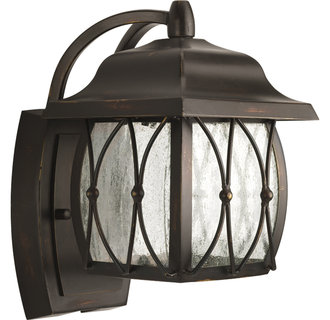 Progress Lighting P5614 Montreux Single-Light Small Outdoor LED Wall Lantern with Clear Distressed Glass Panels
