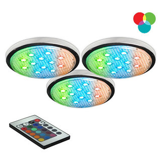 Bazz Lighting LED103RB Under Cabinet LED Series Three-Light Undercabinet Puck Lights, with RGB LEDs