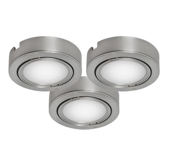 Bazz Lighting U00033BC LED Series Three-Light Under Cabinet Puck Lights, Finished in Silver