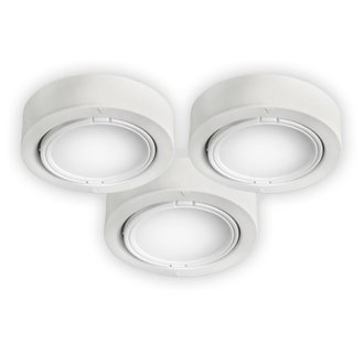 Bazz Lighting U00033WH LED Series Three-Light Under Cabinet Puck Lights, Finished in White