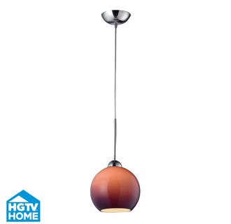 ELK Lighting 10240/1PUR-LED HGTV Home Cassandra Single-Light LED Mini Pendant with Purple Glass Shade, in Polished Chrome Finish
