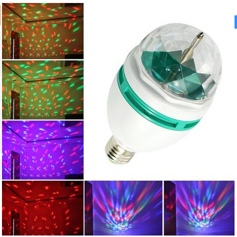 RGB Crystal Ball Effect Light E27 LED Rotating Stage Lighting