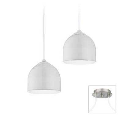 Possini Euro Dome Brushed Nickel LED Swag Chandelier