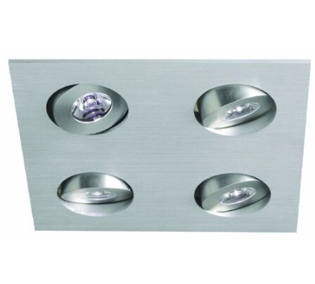LED Recessed Plate Aluminium Square 4 way