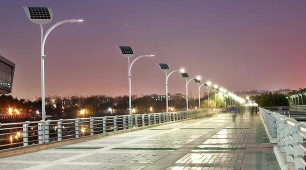Solar LED street lights in several stages of development