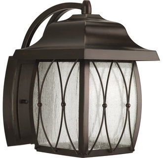 Progress Lighting P5619 Montreux Single-Light Medium Outdoor LED Wall Lantern with Clear Distressed Glass Panels