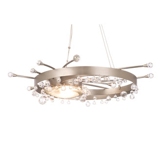 Kalco 6140 / LENS Crystal 1 Light Chandelier With Cut Crystal Bowl And Drop Crystals Included From the Galaxy Collection