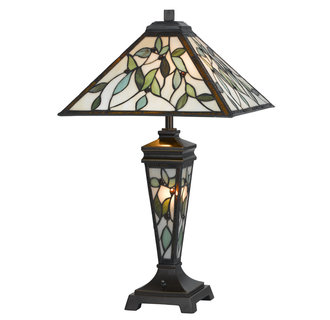 Cal Lighting BO-2313TB Tiffany 3 Light Table Lamp with 3-Way Switch and Night Light