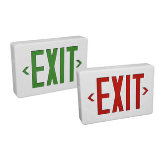 Compass Lighting CSXWREB3 Red LED Damp Location Single / Double Face Emergency Exit Sign - Battery Included