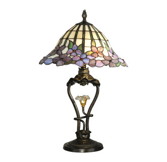 Dale Tiffany TT10008 Victorian 2 Light Tiffany Table Lamp with LED Light and Art Glass Shade