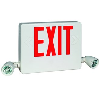 Dual-Lite HCXURWRC12 2 Light 90 Minute Combination Exit Sign / Emergency Light - Battery and 12W Remote Included
