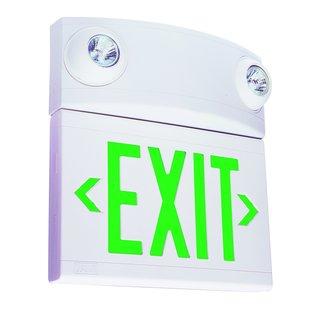Dual-Lite LTUGW 2 Light Green LED / Halogen Tandem Exit Sign / Emergency Light - Battery Included