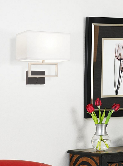 Possini Euro Brushed Steel Rectangle Plug-In Wall Light