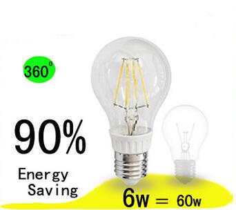 New designed high luminous 6W led filament bulb