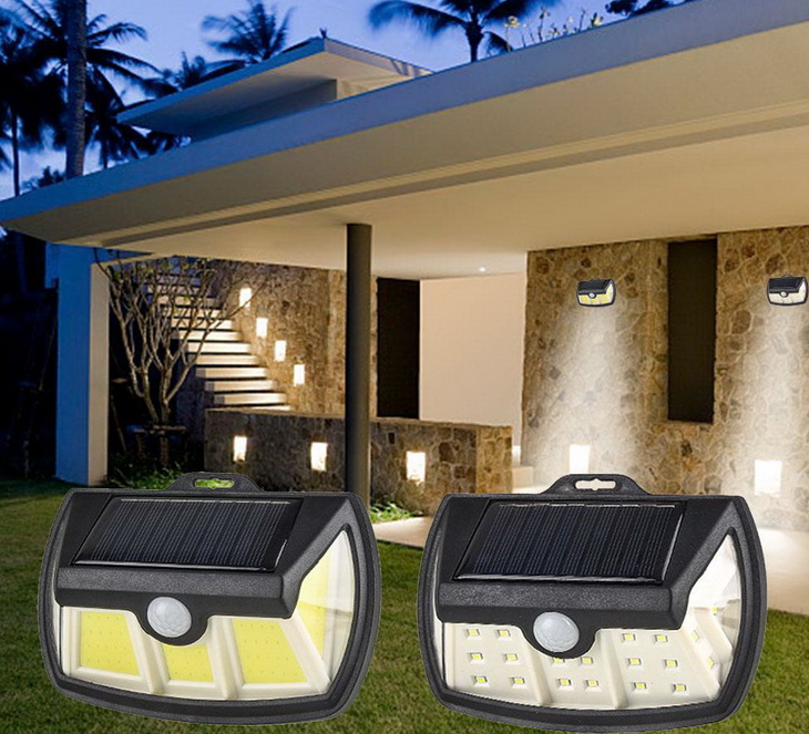 COB LED Solar Power 3 Sides 270° Illumination LED Wall light