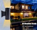 Warm White Double COB LED Wall Lamp Black