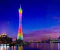How is the facade lighting of Guangzhou East Tower created?