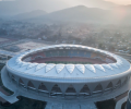 The main stadium of Wenzhou Olympic Sports Center lights up for the first time