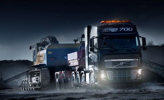 Volvo truck with LED headlights and LED interior lighting ...