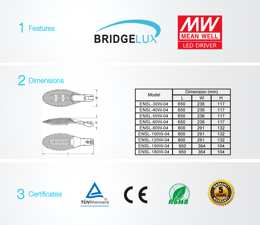 TUV Listed COB LED Street Lights