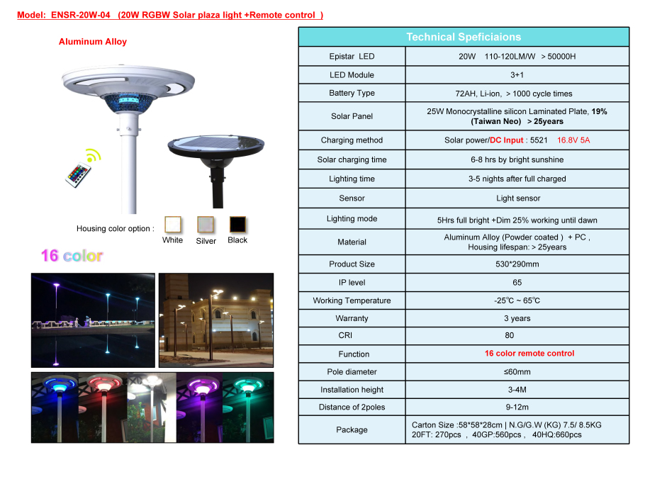 Integrated UFO Solar Led Plaza Lights